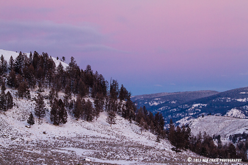 Evening pastels fill the sky in Yellowstone National Park, Wyoming.